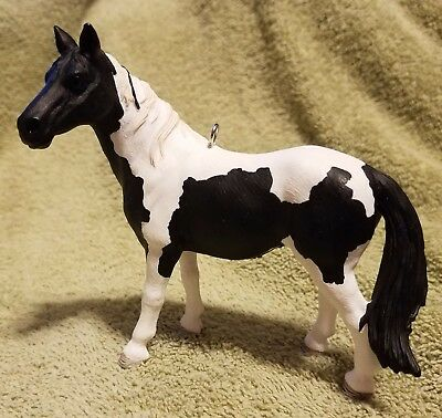 Custom Made Schleich Christmas Ornament Paint Pinto Black and White Mare Horse