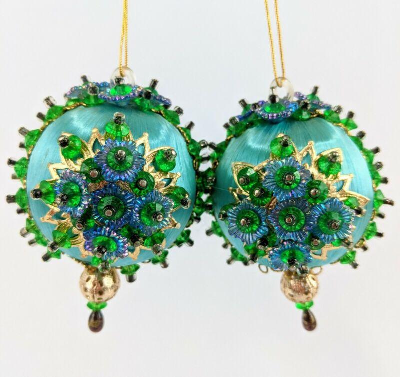 Lot of 2 Vintage Christmas Ornaments Pin Beaded Satin Ball Handmade Teal Gold