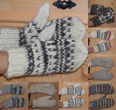 100% Schafwolle Handschuhe Fäustlinge warm handgestrickt unbehandelt Natur Neu Warme Wolle Handschuhe