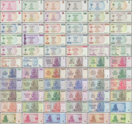 Zimbabwe 1 Cent-$100 Trillion Dollars, 66 PCS Full Complete Set , 2006-2009, UNC