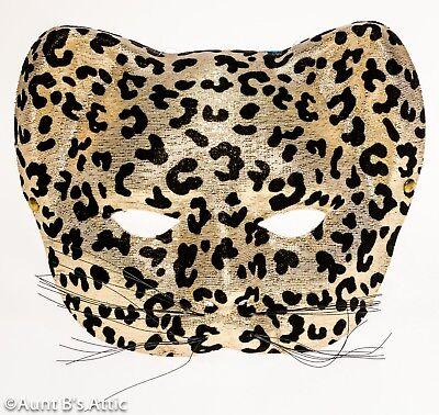 Mardi Gras Katze Tiermaske 1/2 Face Panther oder Leopard Maske Kostüm ()
