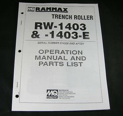 Rammax Rw1403 Rw1403e Vibratory Trench Roller Operation Parts Manual Book Mq