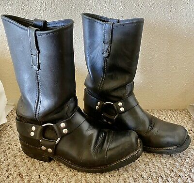 Double H Black Leather Motorcycle Biker Harness Boots Size 9 D