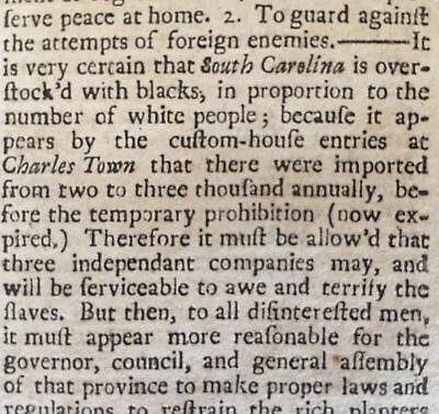 1745 KING GEORGES WAR newspaper CHARLESTON South Carolina DEFENSE SLAVE UPRISING