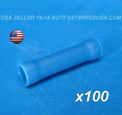 Usa Seller 100pcs Blue 16-14 Awg Butt Crimp Connectors Electrical Wire Terminals