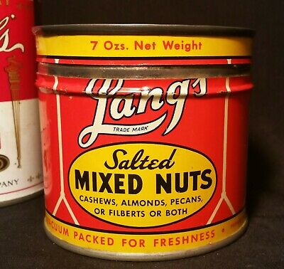 46 SEATTLE vtg lang's mixed nuts tin litho sign can cashews kitchen art squirrel
