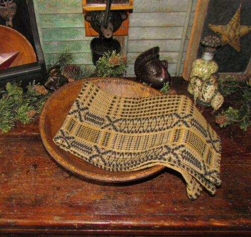 Prim Antique Vtg Style Edgefield Tan Blk Cotton Woven COVERLET RUNNER AQ79SR