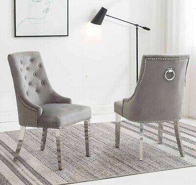 Knightsbridge Light Grey Chrome Knocker Plush Velvet Dining Chair UK STOCK
