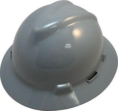 Msa V-gard Gray Full Brim Safety Hard Hat New One Touch Suspension Fast Ship