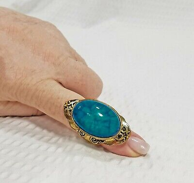 Vintage Brass and Acrylic Blue Jasper Cabochon Fantasy North South Knuckle Ring