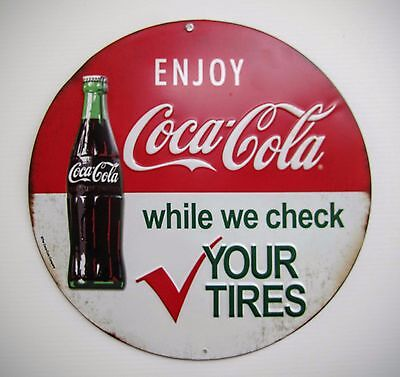 Coca-Cola & Tires Round Sign - BRAND NEW!