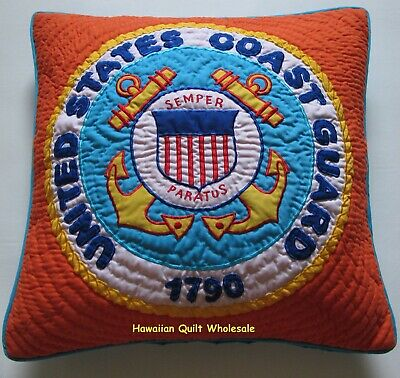 COAST GUARD PILLOW COVER CUSHION hand quilted/machine embroidered