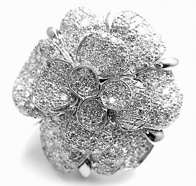 Rare! Authentic Chanel Camelia Camellia FLower 18k White Gold Diamond Large Ring
