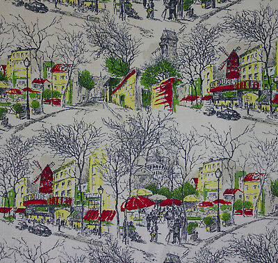 vintage 1950s Parisian scenes print cotton barkcloth fabric length