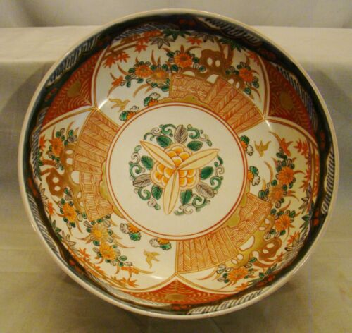 "Antique Japanese 19th Century Meiji Imari Porcelain Large Three Lobes Bowl 9""+"