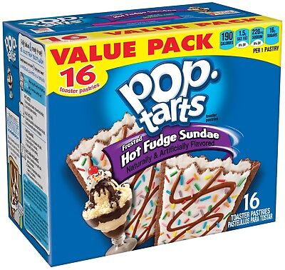 - NEW POP TARTS FROSTED HOT FUDGE SUNDAE 27.1 OZ 16 TOASTER PASTRIES VALUE PACK