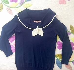 LIKE NEW Review knit-top nautical-style size  8 Woolloomooloo Inner Sydney Preview