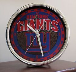 Giants Clock New York 12 Face Wall or desk NFL Football chrome Seconds Hand