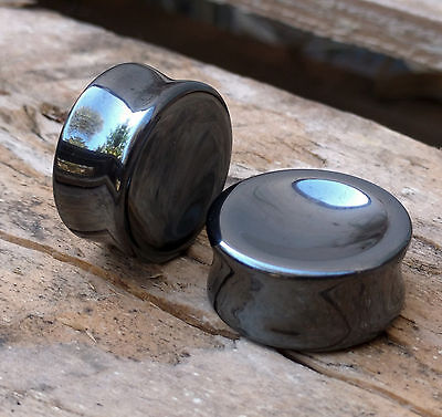 Pair Hematite Concave Organic Double Flared Polished Stone Ear Plugs Gauge 0G-1