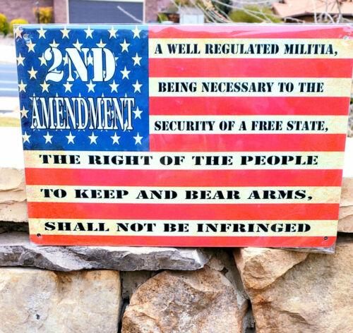 USA Flag 2nd Amendment Metal Sign Wall Decor Man Cave Bar Gun Rights Patriot EDC