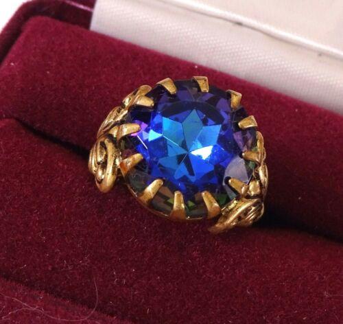 Vintage Gold Tone Adjustable Ring w/Blue/Green Rhinestone W. Germany Sz 6 1/2