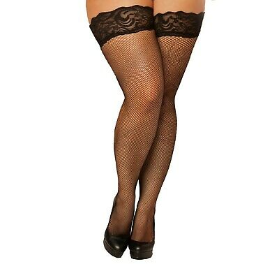 Classic Plus Size Fishnet Nylon Thigh High Stockings With Lace Top (10303X) ()