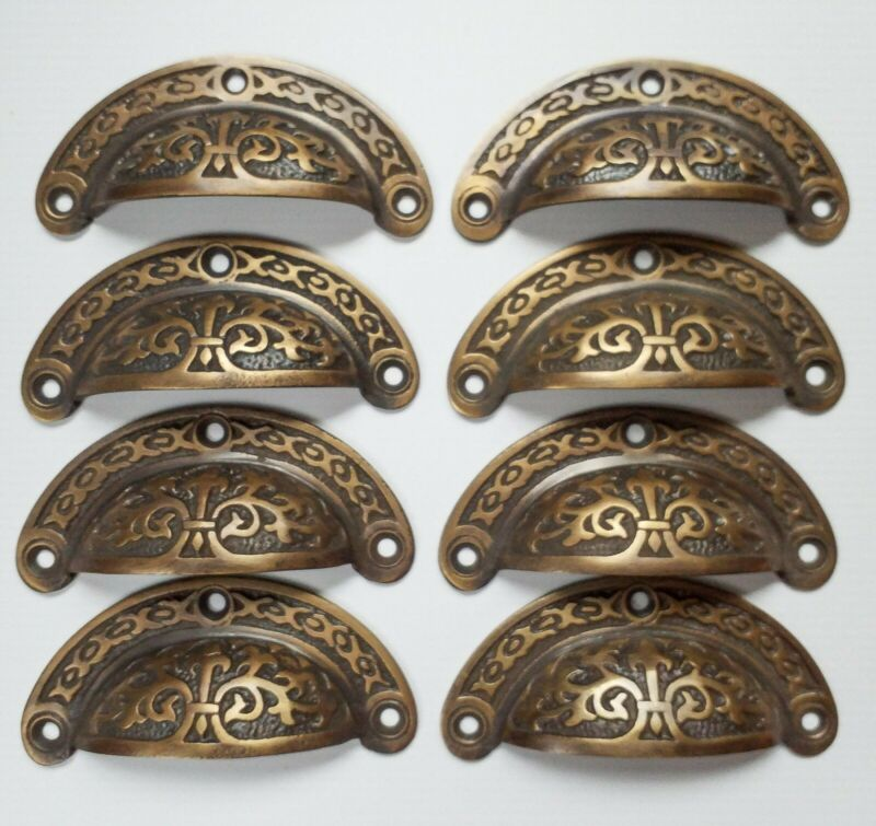 """8pc Antique vtg. Style Victorian Brass Apothecary Bin Pulls Handles 3"""" cntr. #A5"""