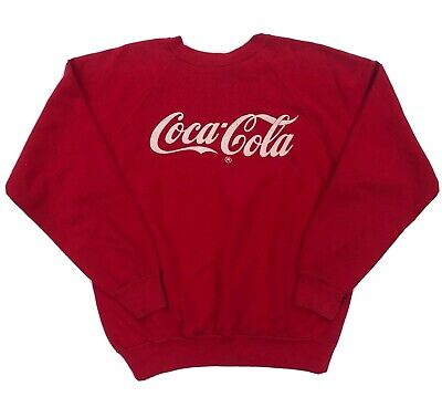 Vintage 80s Enjoy Coca Cola Crewneck Sweatshirt Spellout Coke Sz M Distressed