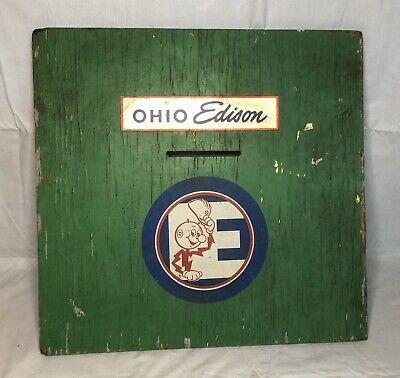 VINTAGE OHIO EDISON REDDY KILOWATT ELECTRIC CO. PAINTED WOOD SLOTTED BOX LID