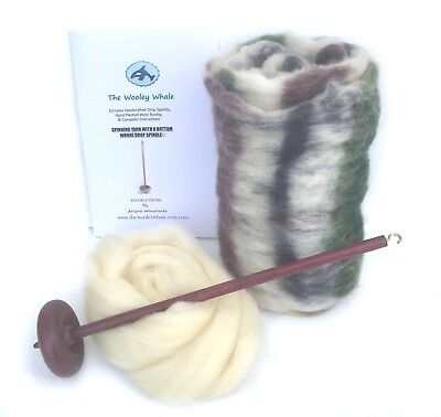 Drop Spindle Yarn Spinning Kit Maple Wood Colorway, Birch Trees, used for sale  Palermo