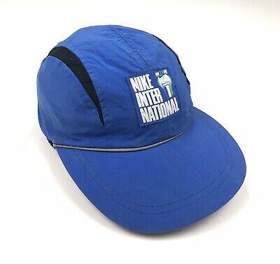 VINTAGE 80s NIKE INTERNATIONAL STRAPBACK HAT CAP CYCLING RUNNING BLUE SNAPBACK