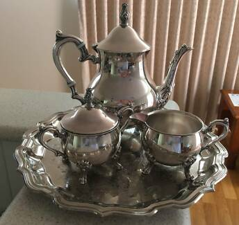 RANLEIGH tray and 3 piece TEA COFFEE set SILVER excellent