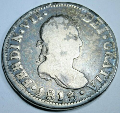 1813 FJ Santiago Chile Spanish Silver 2 Reales Piece of 8 Real Colonial Era Coin