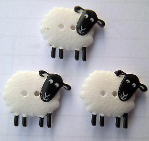 Dill Sheep Buttons 3 pack Farmyard Crafts Sewing Knitting Scrapbooking Washable