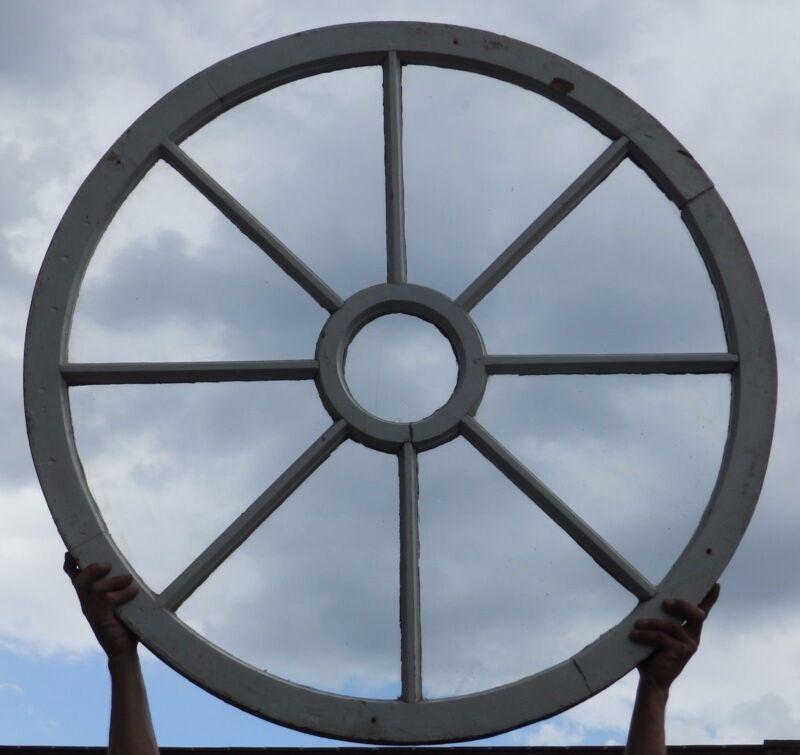 "Large 43"" Round Antique Wagon Wheel 9 Lite Window Sash Shabby Cottage 797-16"