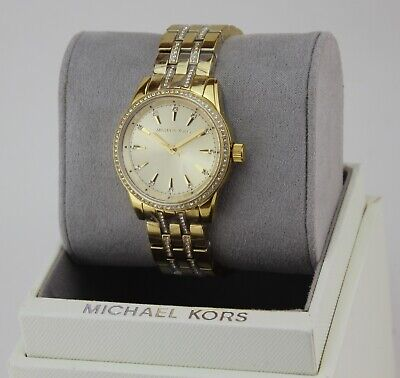 NEW AUTHENTIC MICHAEL KORS MINI RITZ RUNWAY CRYSTALS GOLD WOMEN'S MK3909 WATCH