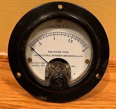 Antique 1900s Weston Electric Voltmeter Panel Meter 301 Measures 0-2 Volts