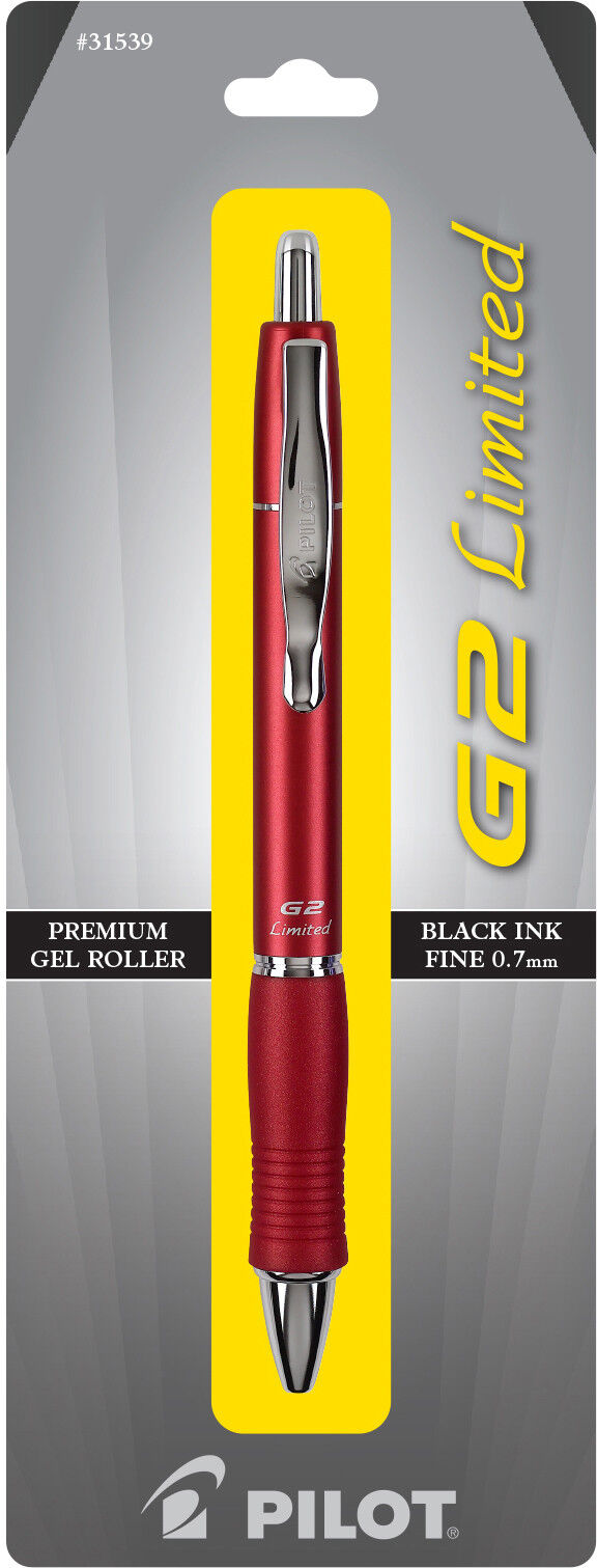 PILOT G2 Limited – Rollerball Pen – BLACK INK .7mm – RED COLOR BARREL Collectibles