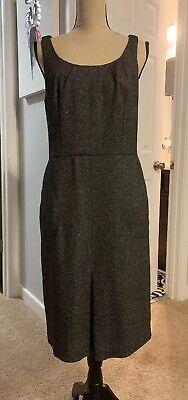 Black Wool Blend Dress (Ann Taylor Black Gray White Wool Blend Sheath Dress Tweed)
