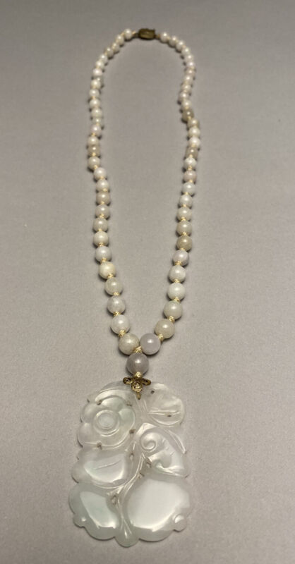 Old Chinese White Jade Hand Knotted Necklace And Carved Pendant