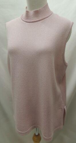 JSS Light Pink Knit Mock Turtleneck Shell Sleeveless Sweater Size XL