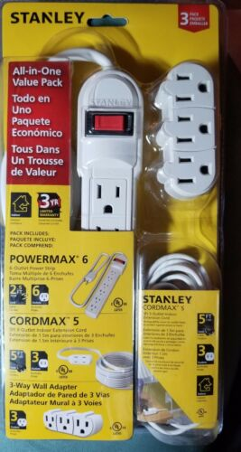 Stanley All In One Value Pack Power Strip, extension cord and 3 way wall adapter