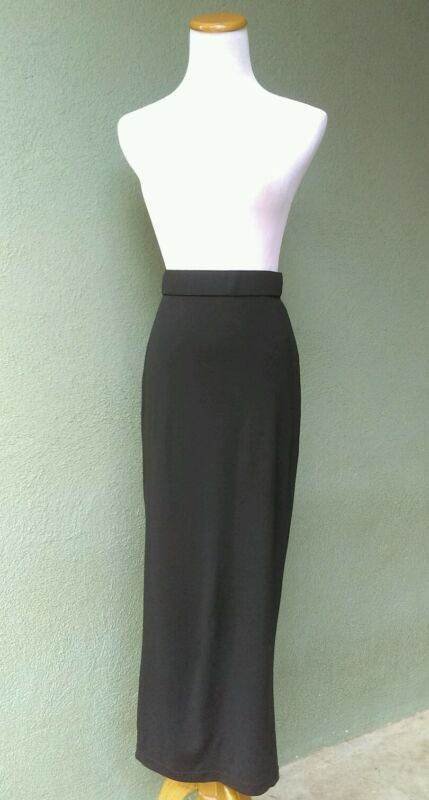 DONNA KARAN Black Seamed Maxi Skirt with Elasticated Waistband Sz P
