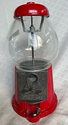 NEW Vtg Cherry Red Carousel GumBall Machine Metal, Bank, w/ Glass Globe