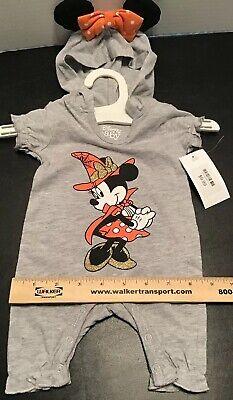 Grey Mouse Ears Halloween (Halloween Disney Minnie Mouse 1pc Bodysuit Hood Ears Baby Girl Newborn, 0/3 Mo)