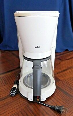 VTG White BRAUN 3094 10 Cup Coffee Maker Gold Filter Germany Clean Descaled 405