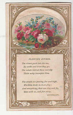 Flowing Rivers Longfellow Poem Verse Flowers Gold Vict Card c1880s