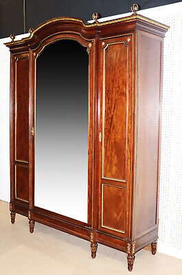 Fine French Carved Bronze Mounted Mirrored Grand Armoire C1880s -