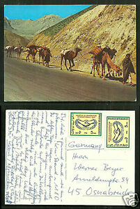 Camel-Caravan-Afghanistan-with-2-stamps-1965