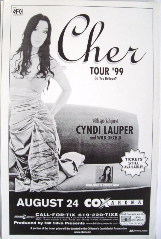 "CHER / CYNDI LAUPER ""DO YOU BELIEVE TOUR"" 1999 SAN DIEGO CONCERT POSTER"